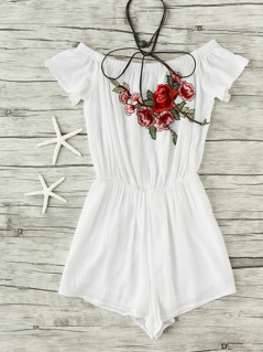 Embroidered Flower Applique Crinkle Blouson Romper