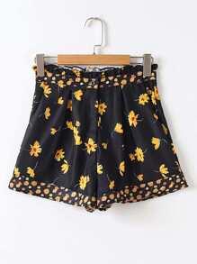 Pantaloncini da fibbia con stampa a fiori