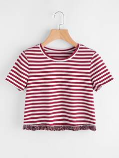 Fringe Lace Trim Striped Tee
