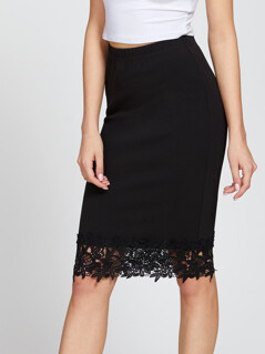 Elastic Waist Lace Hem Pencil Skirt