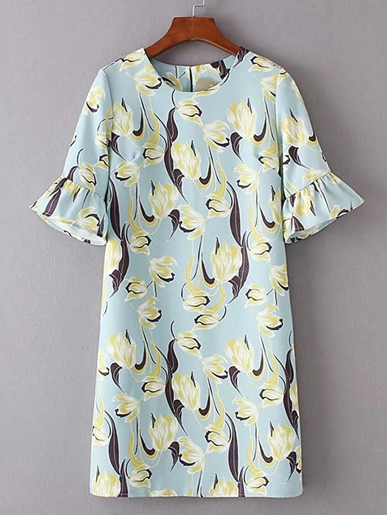Купить Модное платье с оборкой и цветочным принтом, null, SheIn