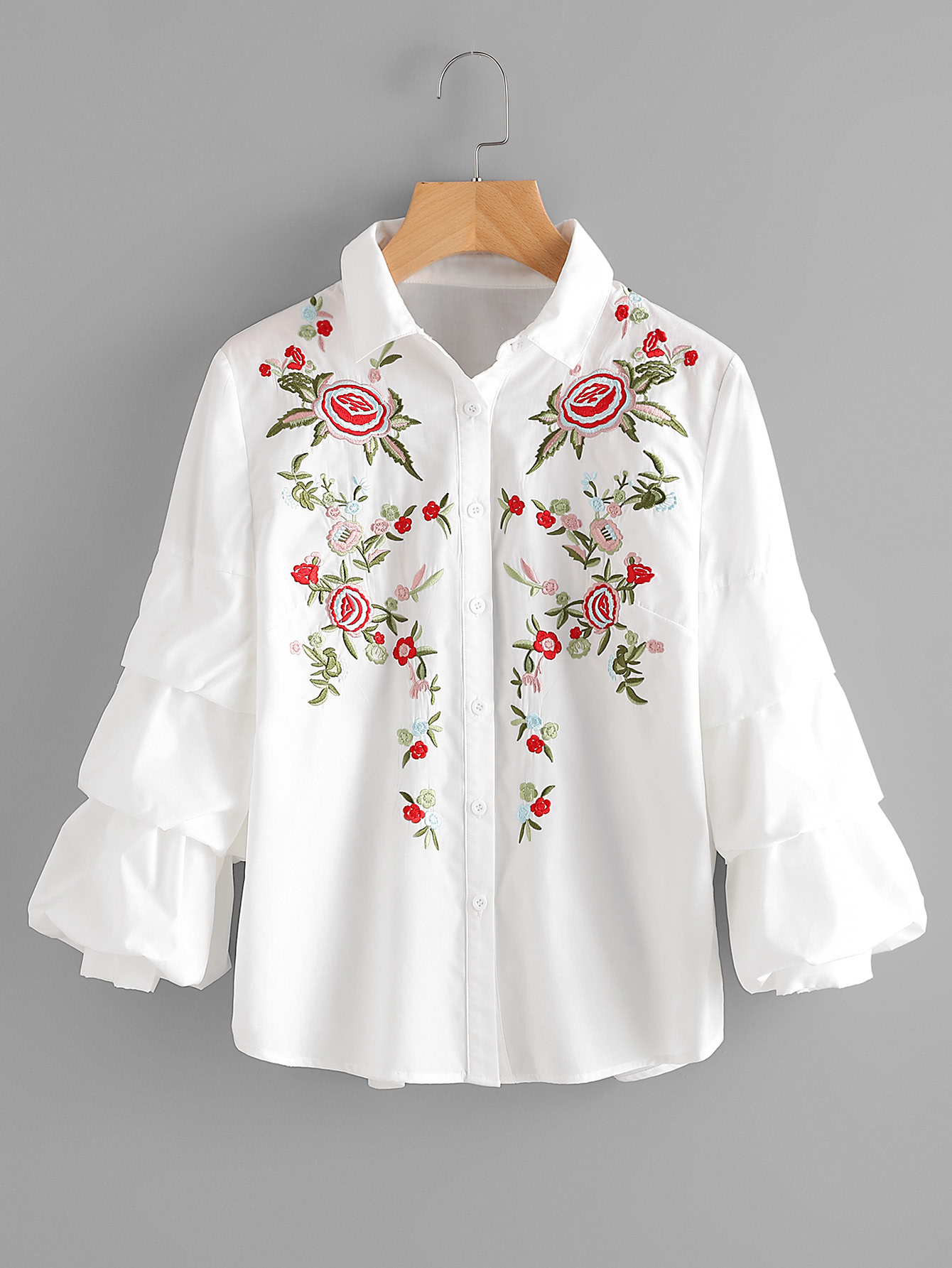 Фото Tiered Bishop Sleeve Flower Embroidered Blouse. Купить с доставкой