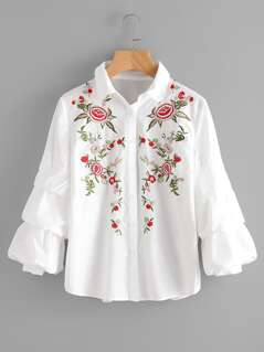 Tiered Bishop Sleeve Flower Embroidered Blouse