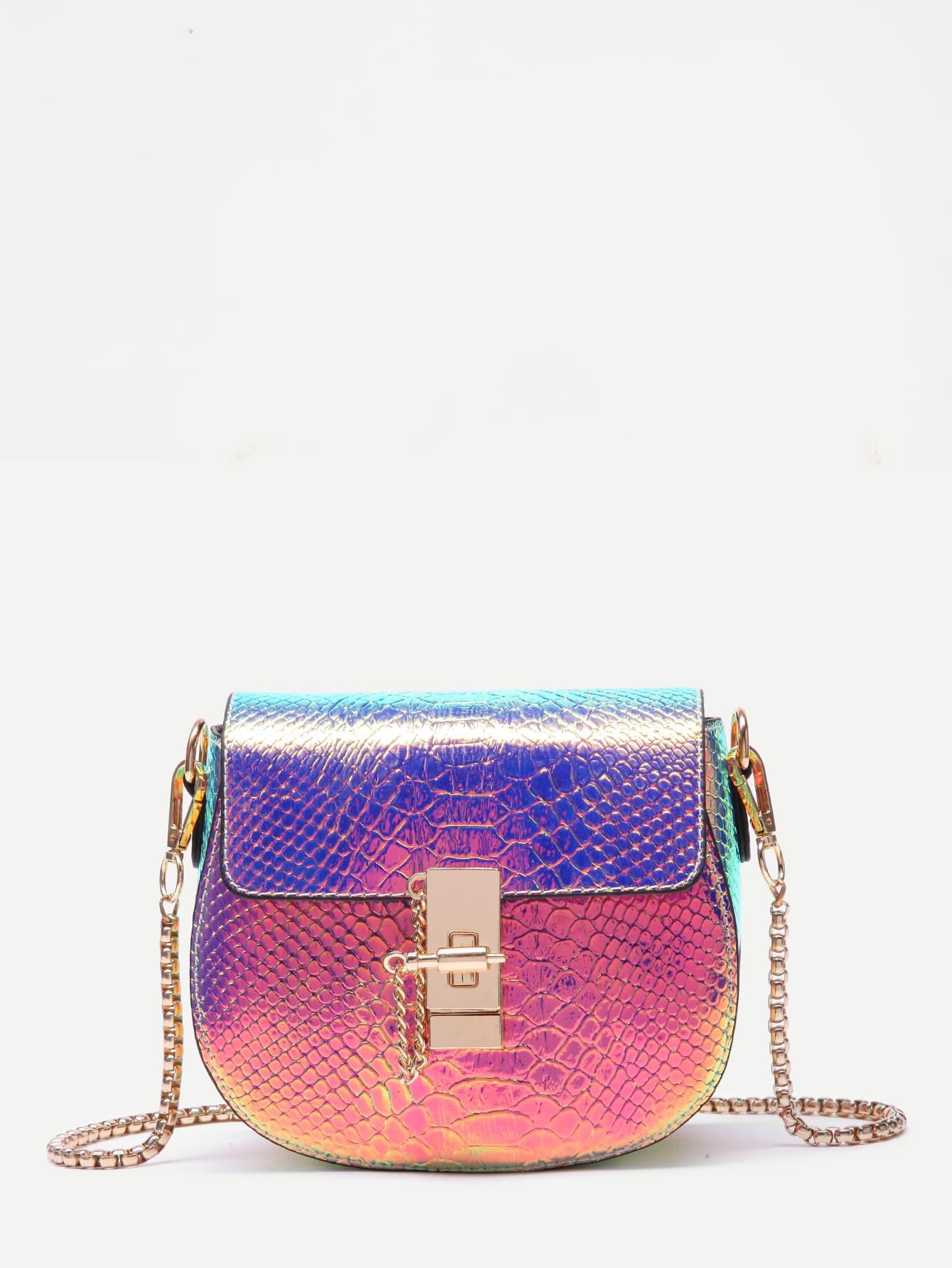 Metallic Crocodile PU Saddle Bag metallic crocodile textured backpack