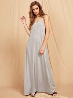 Doubel V Neck Heather Knit Tent Dress