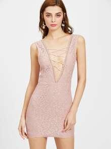 Pink Criss Cross Front Sleeveless Lace Dress