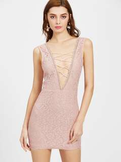 Scallop Edge Plunge Lattice Front V-Back Lace Dress
