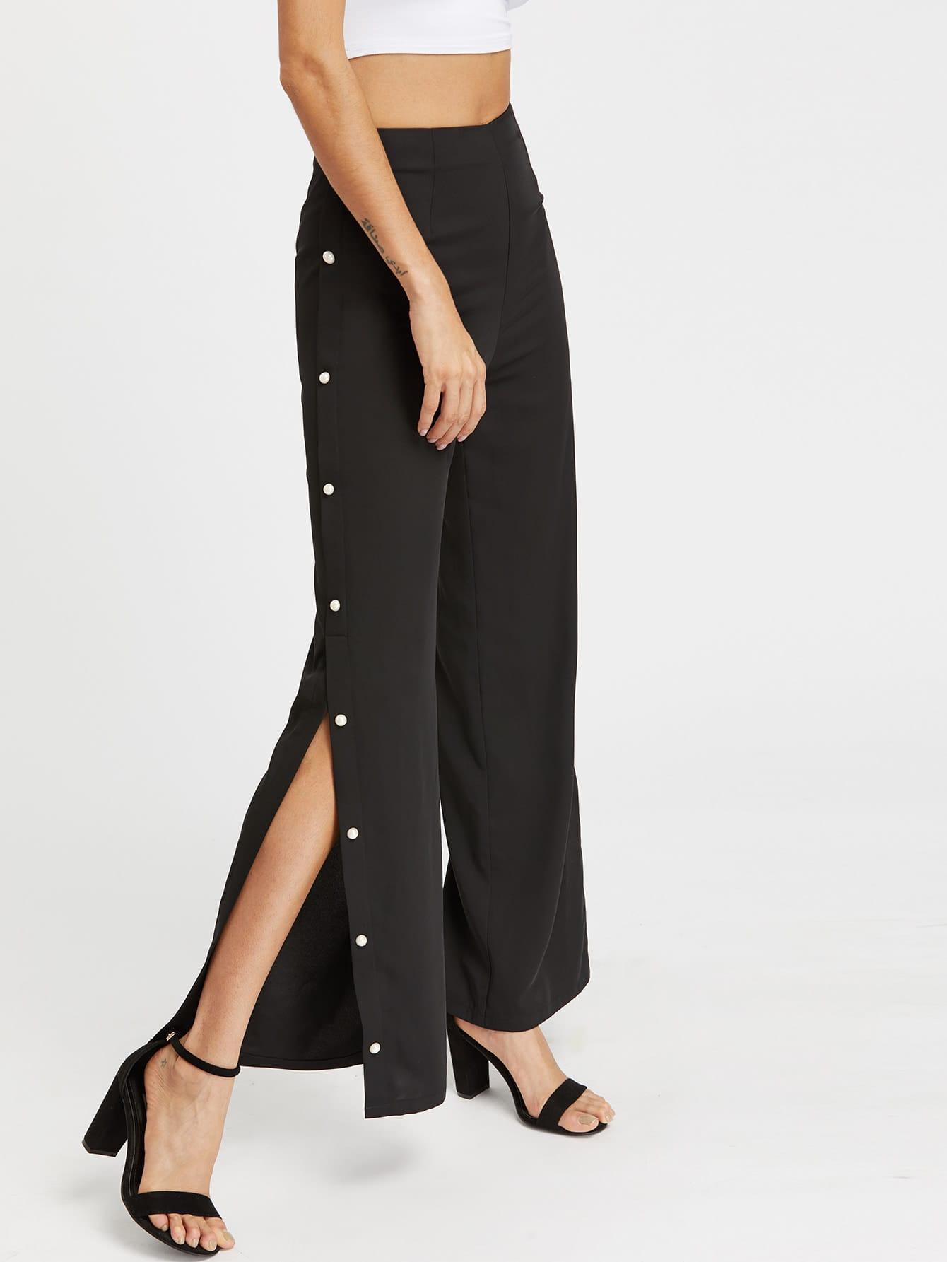 Фото Zip Back Buttoned Split Side Tailored Pants. Купить с доставкой