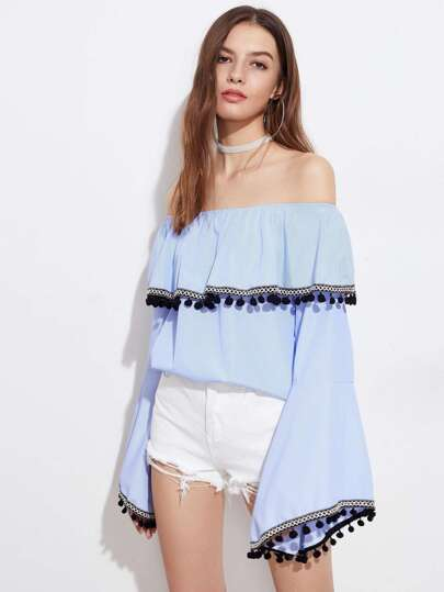 Frill Layered Neckline Pinstripe Embroidered Tape Pom Pom Top