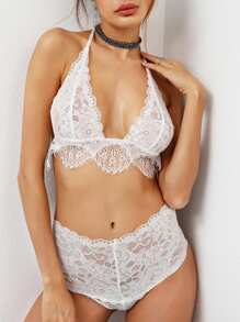Scallop Trim Eyelash Lace Triangle Bra Set