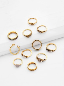 Rhinestone Rose And Leaf Design Retro Ring Set 11pcs
