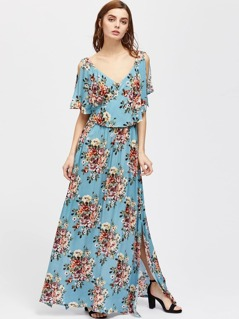 Flower Cluster Print Surplice Wrap Split Cape Dress