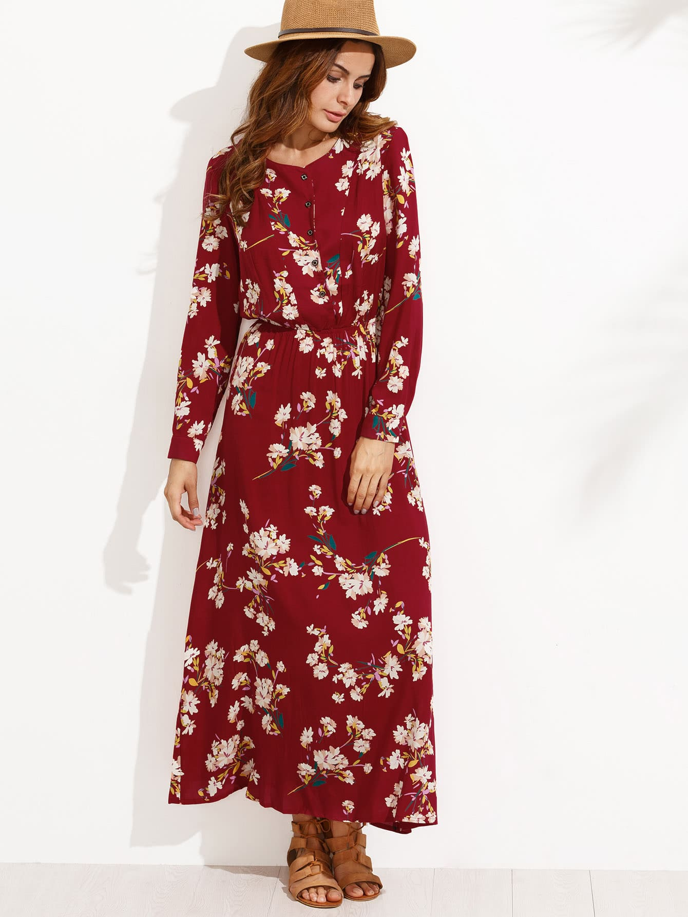 Flower Print Button Front Full Length Dress two tone letter print full length dress