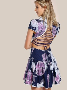 Lace Up Floral Print Dress NAVY