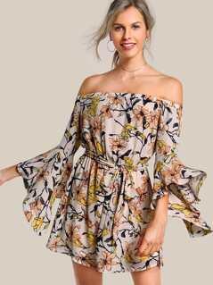 Off Shoulder Quarter Sleeve Floral Dress APRICOT