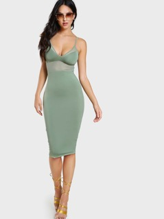 Mesh Cutout Spaghetti Strap Dress SAGE