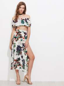 Tropical Print Flounce Layered Crop Top With Split Skirt