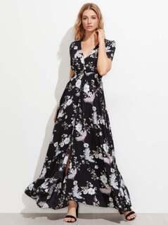 Floral Print Drawstring Waist Maxi Dress With Fringe
