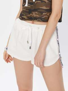 Printed Strap Side Dolphin Shorts