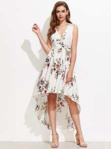Surplice Neckline Random Florals Dip Hem Dress With Belt