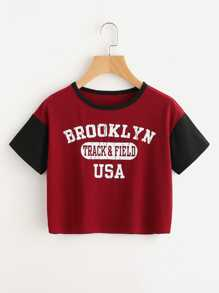 Slogan Stampa T-shirt a contrasto a contrasto