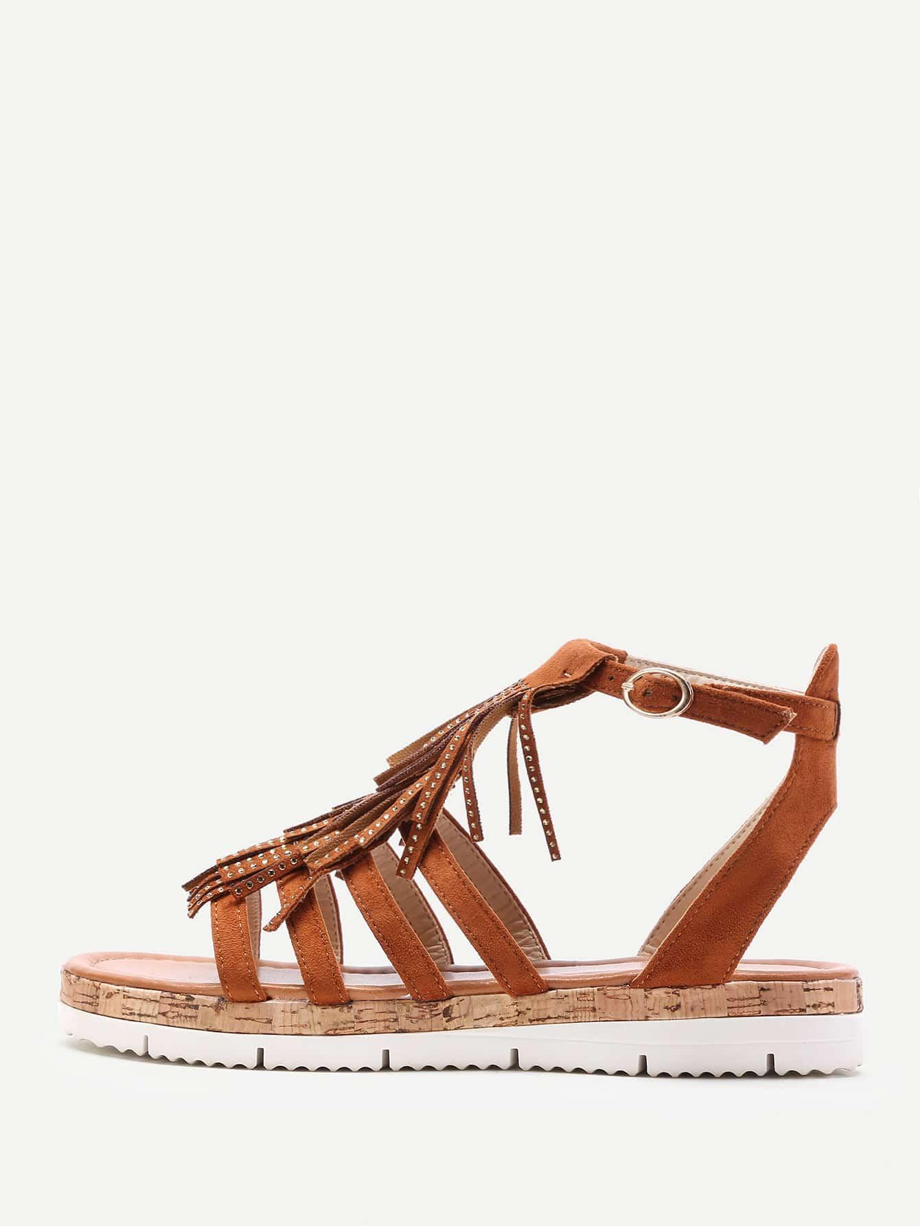 Фото Fringe Design Strappy Flat Sandals. Купить с доставкой