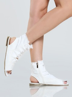 Distressed Denim Shootie Sandals WHITE