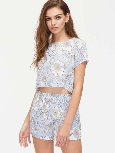 Flower And Stripe Print Crop Top And Shorts Co-Ord