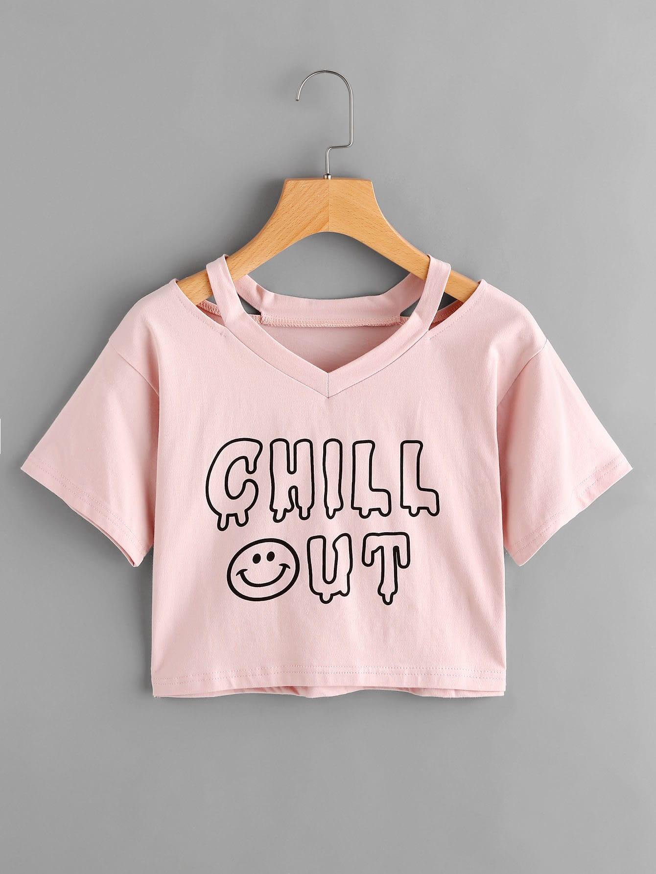 Купить Модная футболка с разрезом и текстовым принтом, null, SheIn