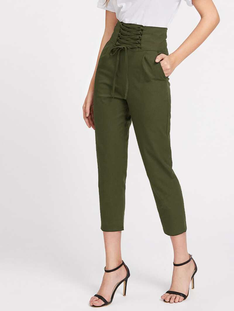 Lace Up Empire Cropped Pants, Army green