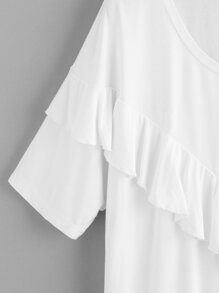 V Frill Trim Cut And Sew T-shirt pictures