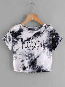 Water Color Letter Print Tee