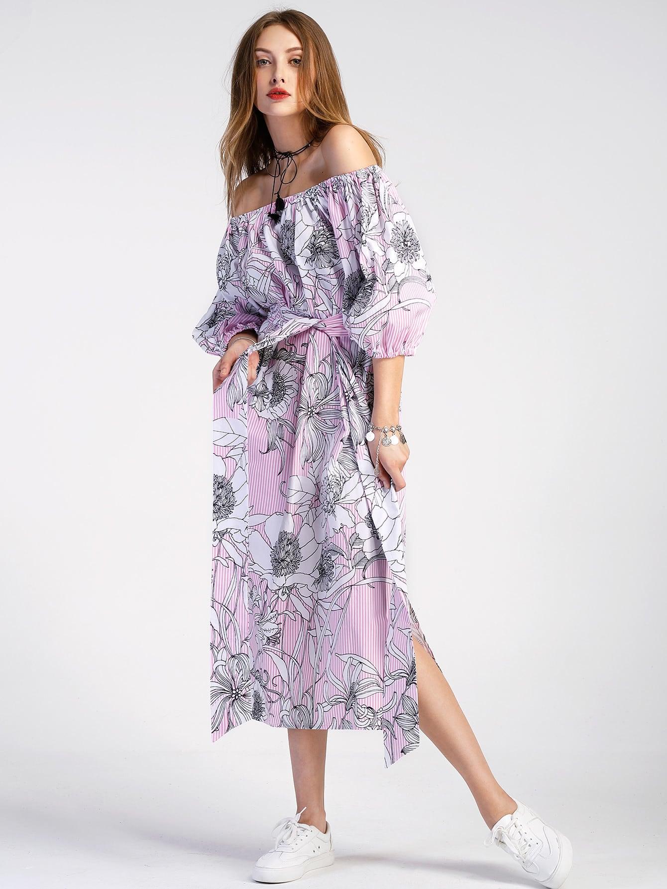 Фото Bardot Lantern Sleeve Vertical Striped Florals Dress. Купить с доставкой