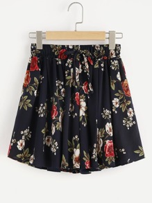 Shorts con estampado floral con cordón