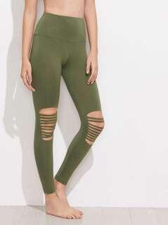 Wide Waistband Knee Ripped Leggings