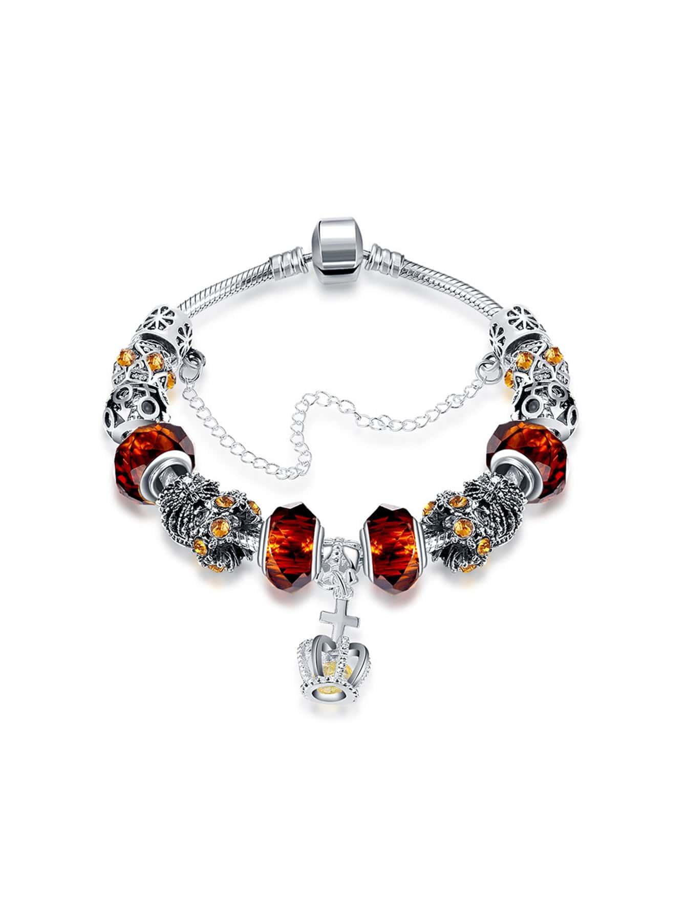 Фото Crown Detail Charm Bracelet With Crystal. Купить с доставкой
