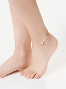 Rhinestone Butterfly Design Link Anklet