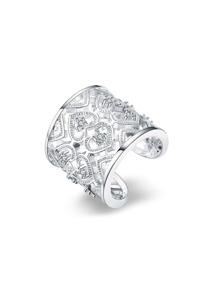 Rhinestone Heart Design Adjustable Ring