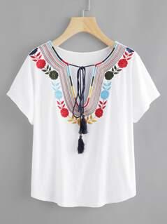Tasseled Tie Embroidered Plunge Neck Tee