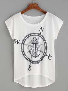 Kurzarm T-Shirt hinten lang mit Druckmuster in weiß