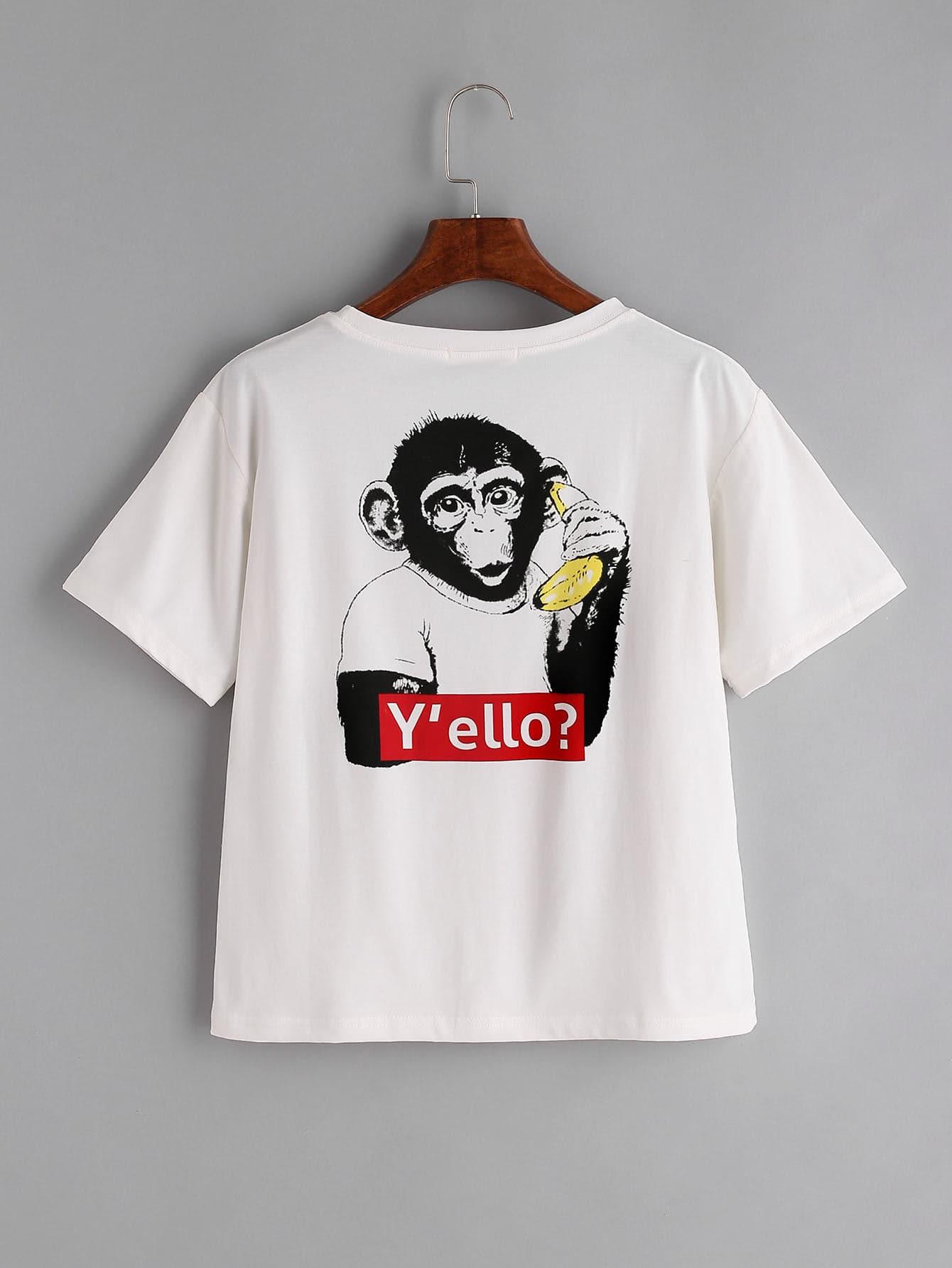 Фото White Monkey Print Back T-shirt. Купить с доставкой