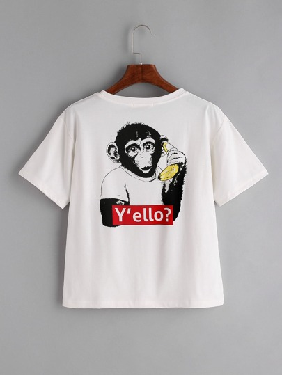 White Monkey Print Back T-shirt