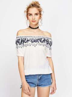Bardot Flower Embroidery Top