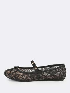 Elastic Stud Lace Ballet Flats BLACK