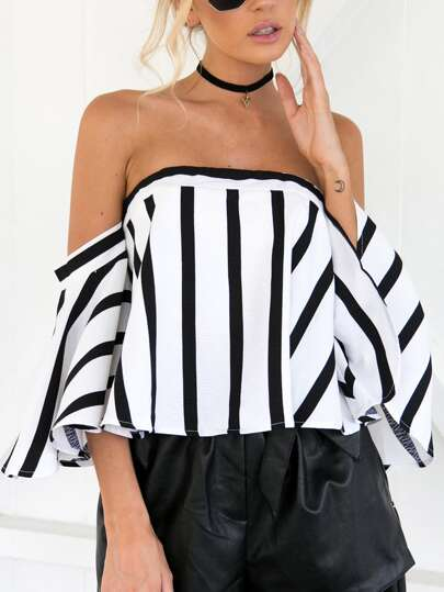 Off Shoulder Striped Zip Back Top