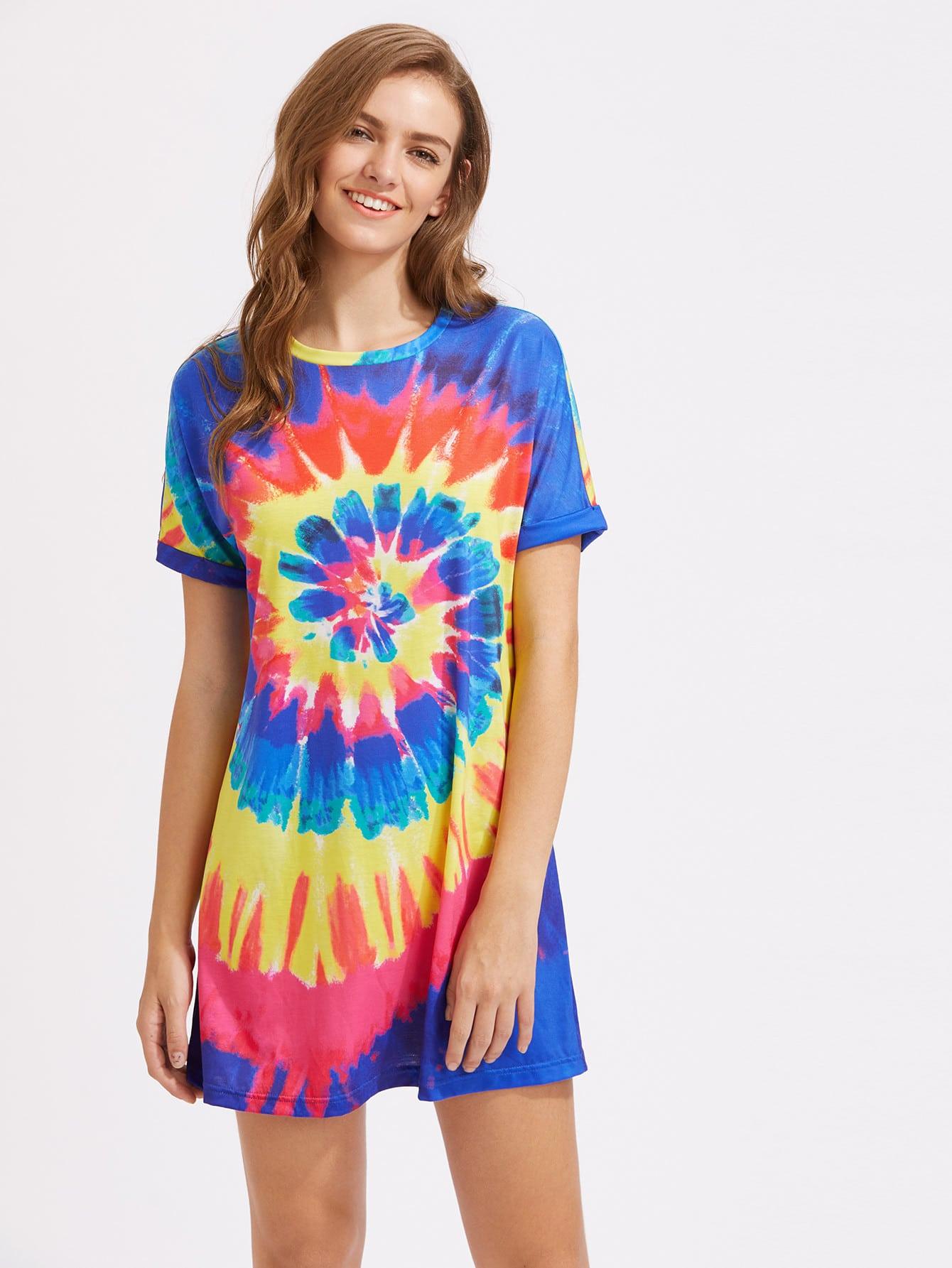 Фото Roll Sleeve Spiral Tie Dye Dress. Купить с доставкой