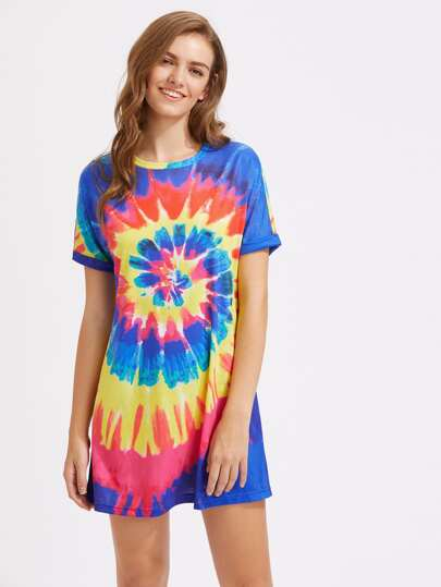 Roll Sleeve Spiral Tie Dye Dress