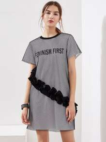 Frill Detail Fishnet Overlay Tee Dress