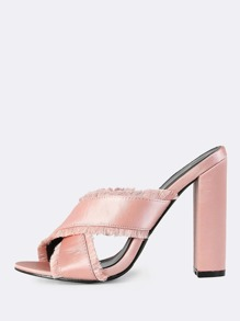 Frayed Cross Band Mules BLUSH