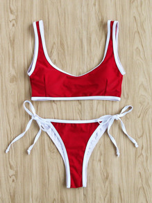 Contrast Trim Side Tie Bikini Set